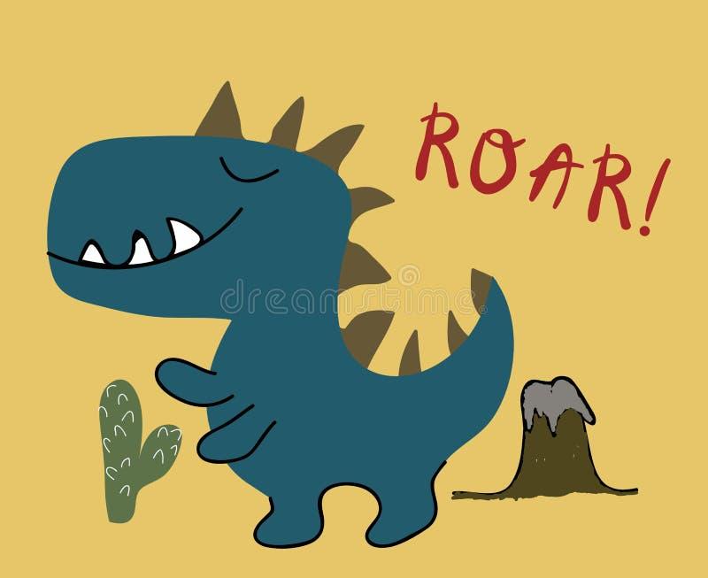 Childish dinosaur boy vector print . chldish illustration for t shirt, kids fashion, fabric.  royalty free illustration