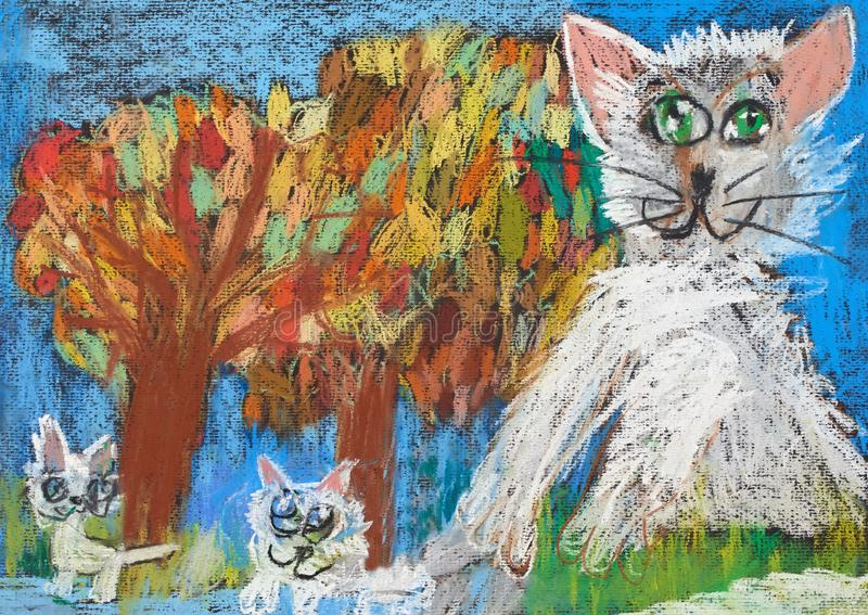 Childish drawing of the cat family with two kittens. On an autumn background vector illustration