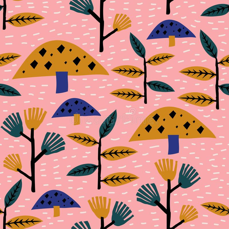 Childish drawing floral autumn seamless pattern. Vector illustration repeat ready for baby kids fashion textile print stock illustration