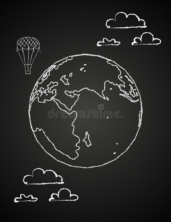 Download Childish Drawing Of A Globe In Chalck Stock Vector - Image: 31925265