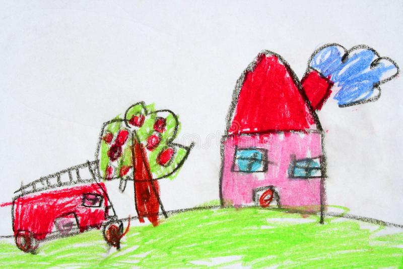 Download Childish drawn stock image. Image of house, green, dirty - 15004951