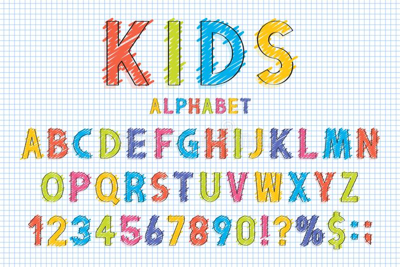 Childish font and alphabet in school style. Pencil scribbles stylized in english alphabet with numbers royalty free illustration