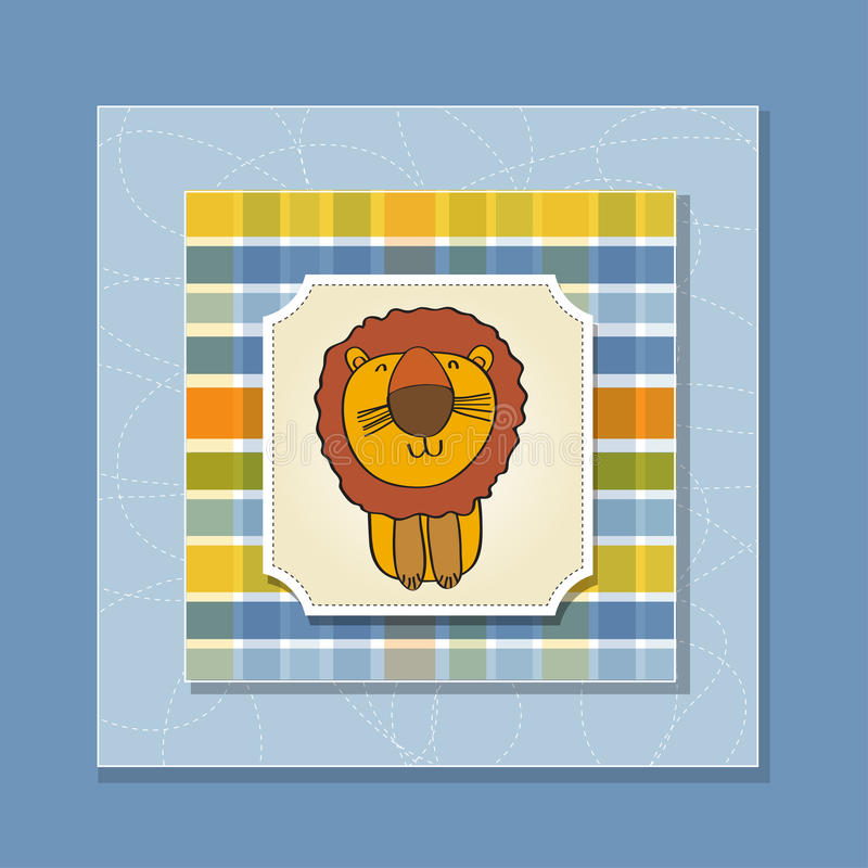 Download Childish Greeting Card With  Lion Stock Vector - Illustration of gift, card: 24486336