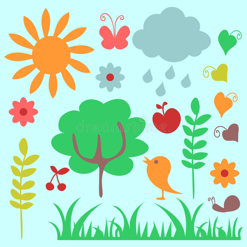 Download Childish nature elements stock vector. Image of tree - 25305245