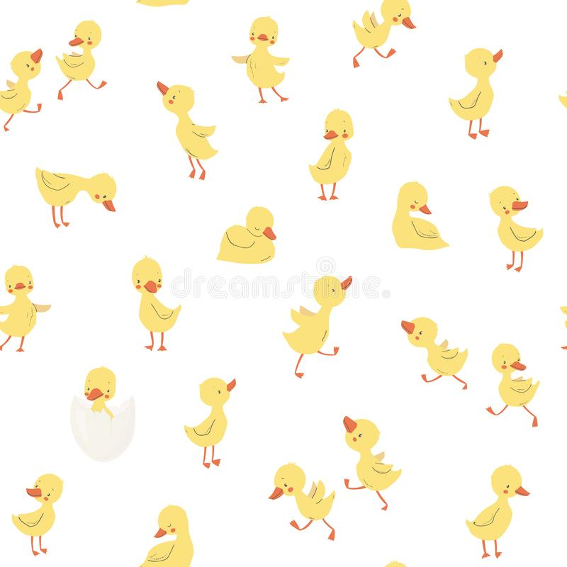 Childish pattern with little ducklings stock illustration