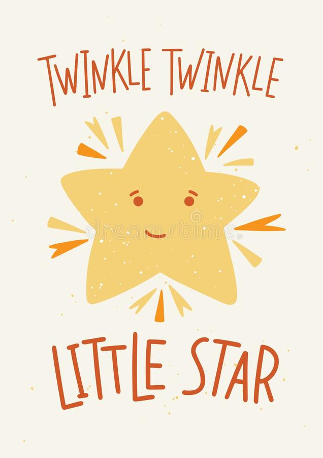 Childish poster template with Twinkle Twinkle Little Star lettering handwritten with elegant calligraphic font and cute vector illustration