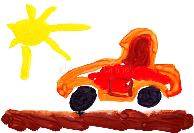 Childish red toy car and sun. Watercolor. stock photography