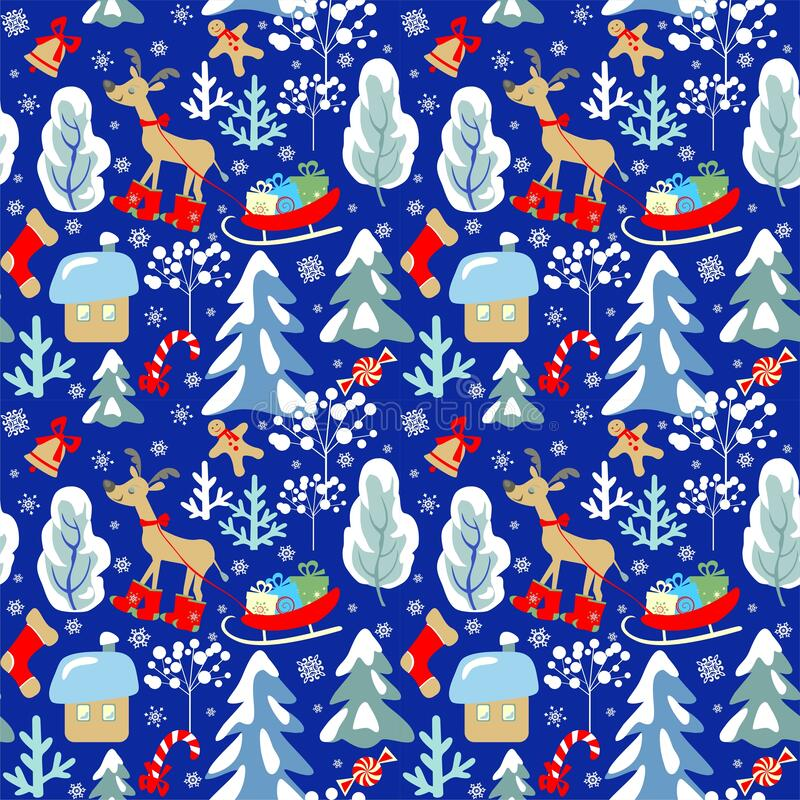 Free Childish Seamless Christmas Winter Pattern With Snowy Firs, Trees, Reindeer, Sleigh With Presents, Candy, Sweets, Jingle Bell, Sno Royalty Free Stock Photos - 173758248