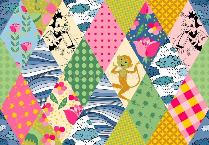 Childish seamless patchwork pattern with cute monkey, dragons, flowers, clouds and waves. vector illustration