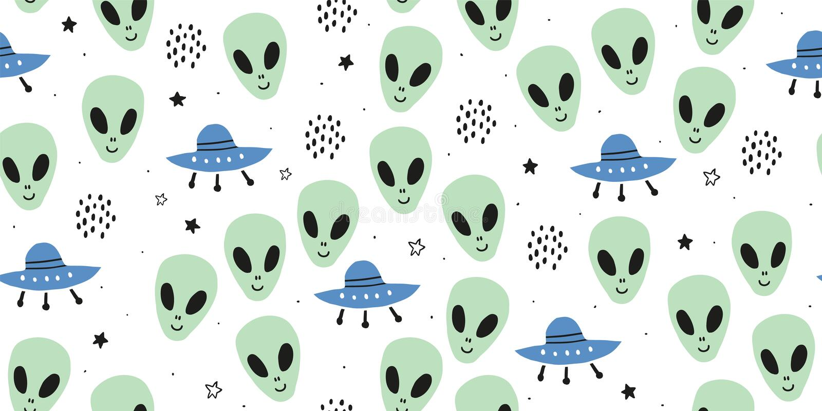 Childish seamless pattern with aliens, ufo, cosmos. Childish seamless pattern with aliens, ufo in cosmos. Trendy scandinavian vector background. Perfect for kids stock illustration