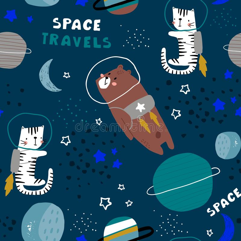 Childish seamless pattern with bear and cat in cosmos. Trendy scandinavian vector background. Perfect for kids apparel,fabric, royalty free illustration