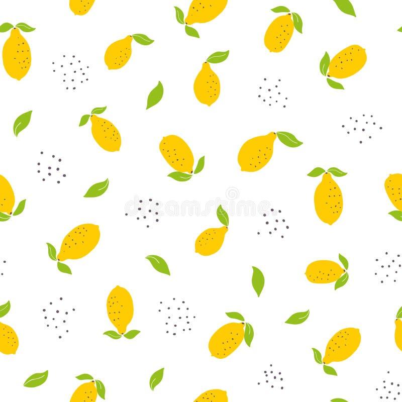 Childish seamless pattern with bright lemons vector illustration