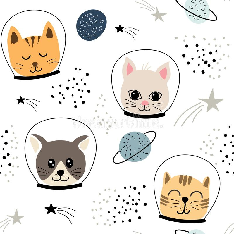 Childish seamless pattern with cute cats astronauts.vector illustration for fabric,textile,wallpaper. Childish seamless pattern with cute cats astronauts. vector royalty free illustration