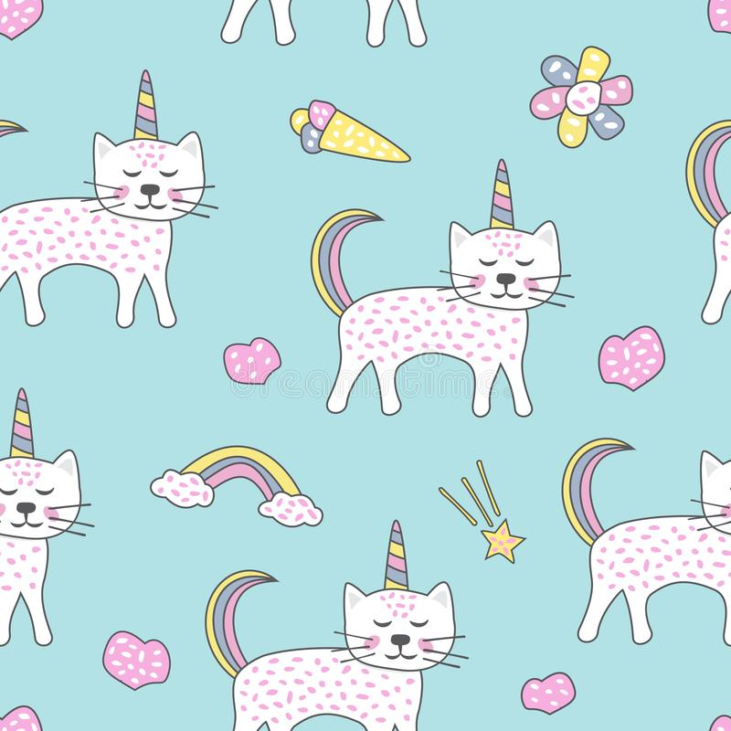 Childish seamless pattern with cute cats unicorn. Creative texture for fabric vector illustration