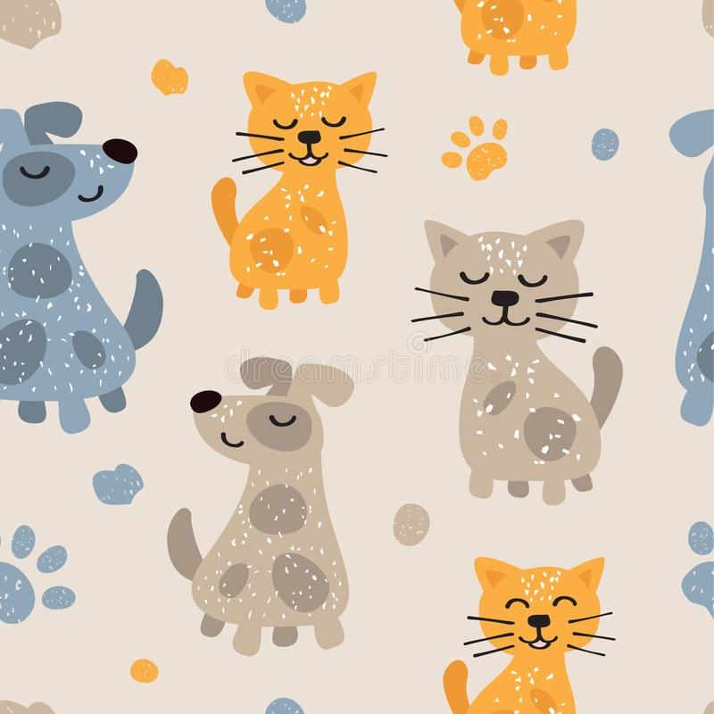 Childish seamless pattern with cute dogs and cats. Scandinavian style. Childish texture for fabric royalty free illustration