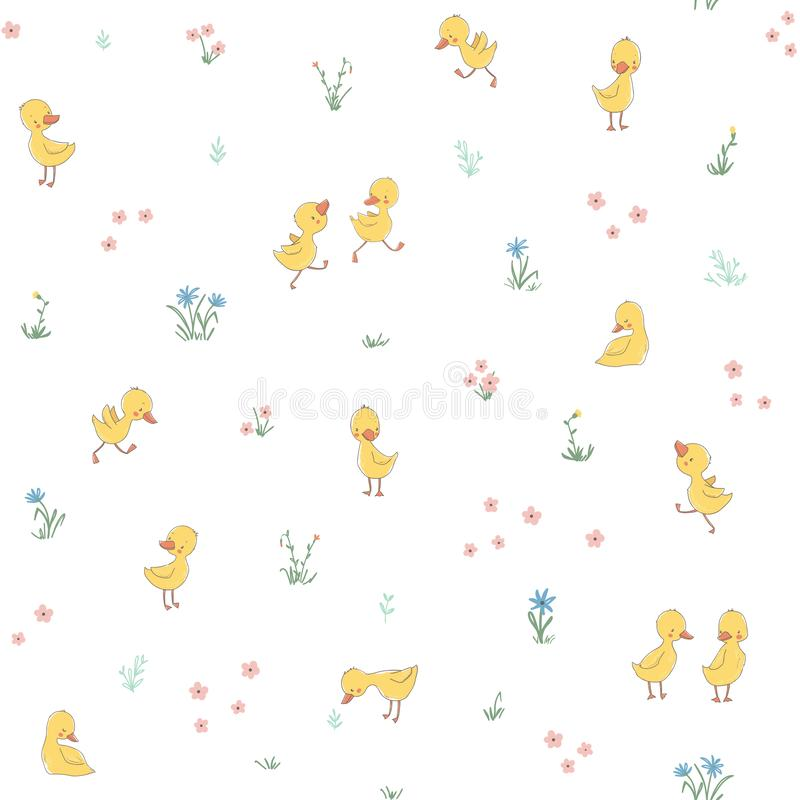 Childish seamless pattern with cute ducklings royalty free illustration