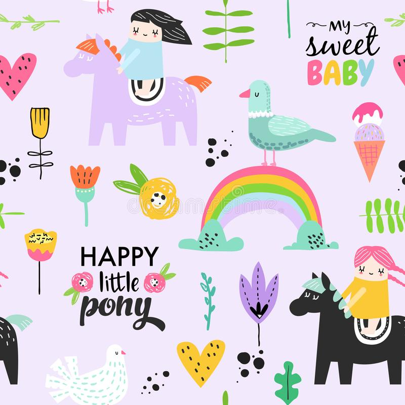 Childish Seamless Pattern with Cute Girls on Pony, Rainbow and Flowers. Creative Kids Background for Fabric, Textile royalty free illustration