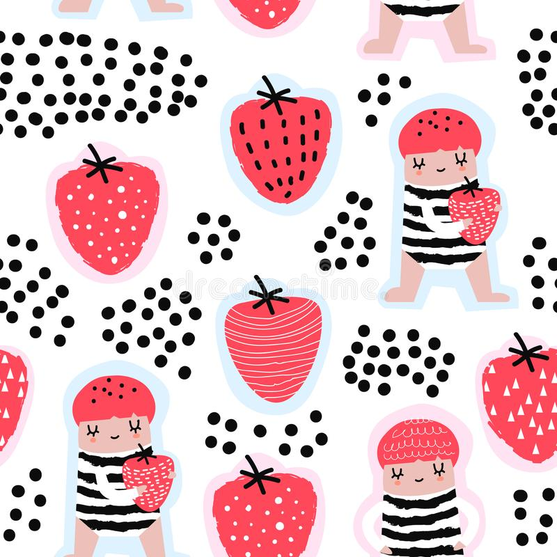 Childish Seamless Pattern with Cute Girls and Strawberries. Creative Kids Background for Fabric, Textile, Wallpaper stock illustration