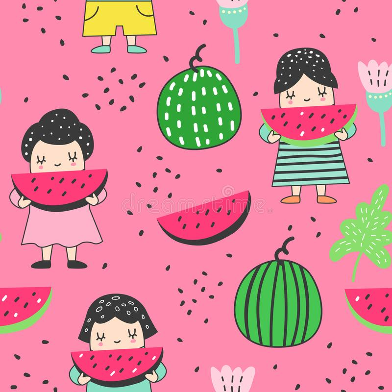 Childish Seamless Pattern with Cute Girls and Watermelons. Colourful Creative Kids Background for Fabric, Textile royalty free illustration
