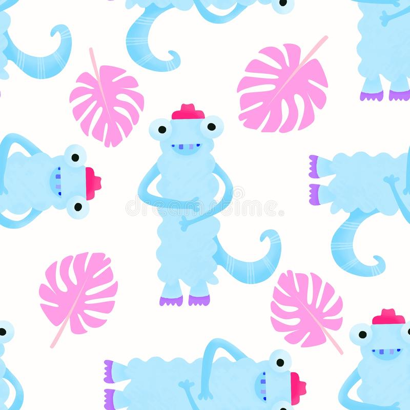 Childish seamless pattern with cute monsters. Perfect for kids apparel,fabric, textile, nursery decoration. Trendy kids  vector illustration