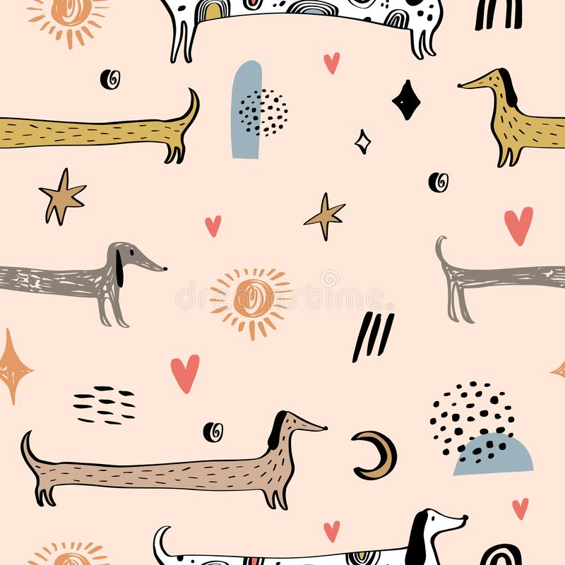 Childish seamless pattern with dachshund dogs. Trendy scandinavian vector background. Creative childish art. Perfect for textile royalty free illustration