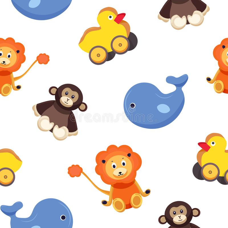 Childish seamless pattern with funny adorable toy animals - monkey, duck, whale, lion on white background. Colorful royalty free illustration