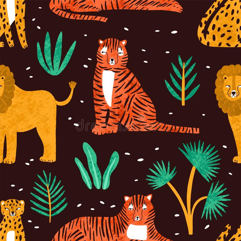 Childish seamless pattern with funny lions, tigers, leopards and leaves of tropical plants on dark background. Backdrop stock illustration