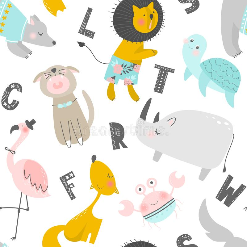Childish seamless pattern with hand drawn animals and letters. Trendy scandinavian vector background. Perfect for kids vector illustration