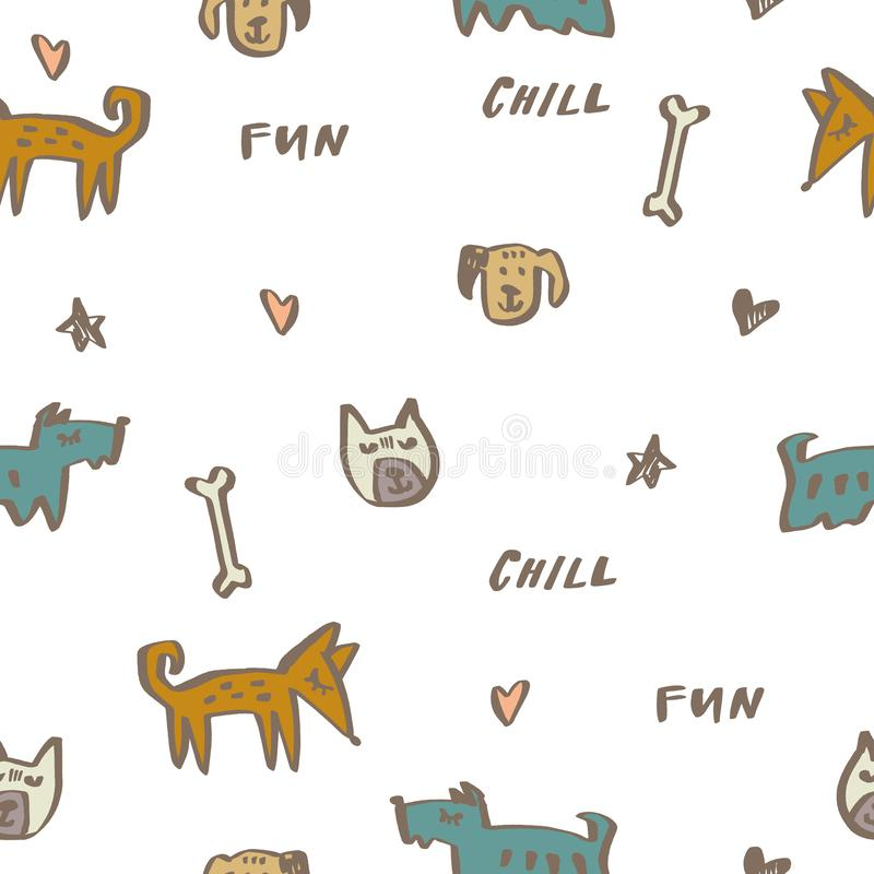 Childish seamless pattern with hand drawn different dogs. Trendy vector background. Perfect for kids decoration royalty free illustration