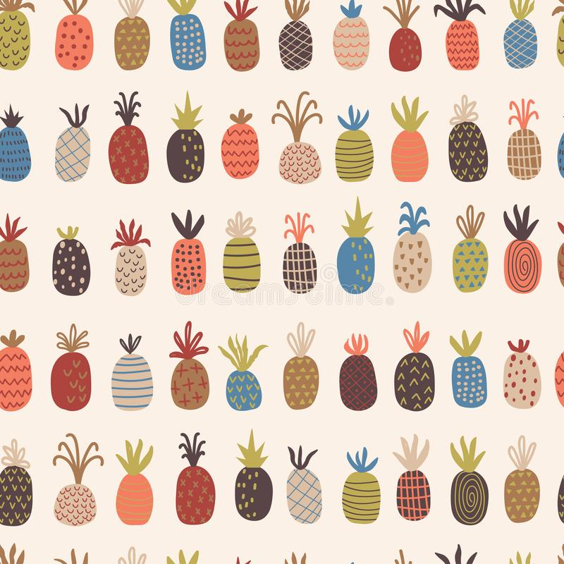 Childish seamless pattern with hand drawn pineapples royalty free illustration