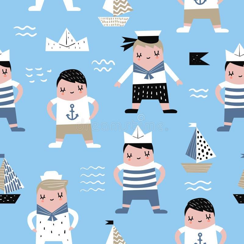 Childish Seamless Pattern with Sailor Boy vector illustration