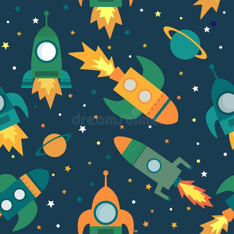 Childish seamless pattern with spaceship, stars, planets and stars royalty free illustration