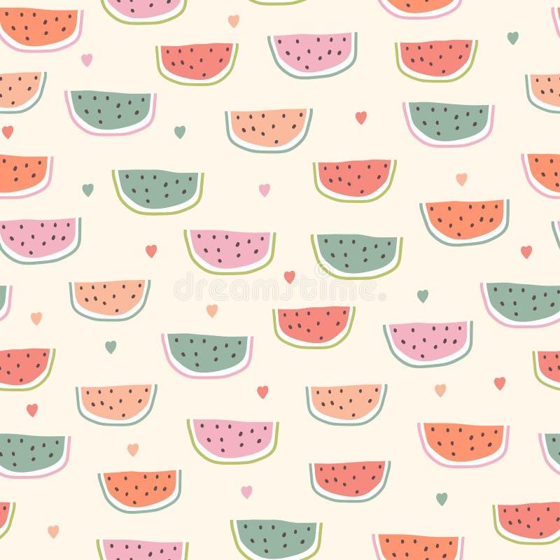Childish seamless pattern with watermelon in scandinavian style stock illustration