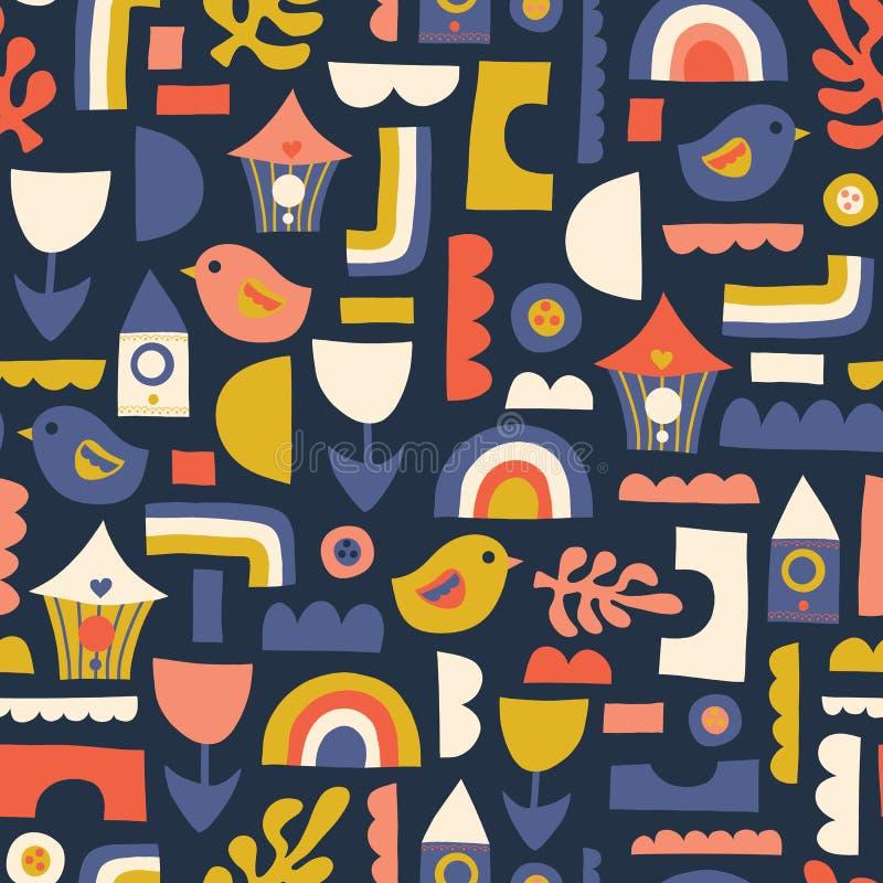 Childish seamless vector pattern with hand drawn Scandinavian style birds, birdhouse, rainbow, flower. stock illustration