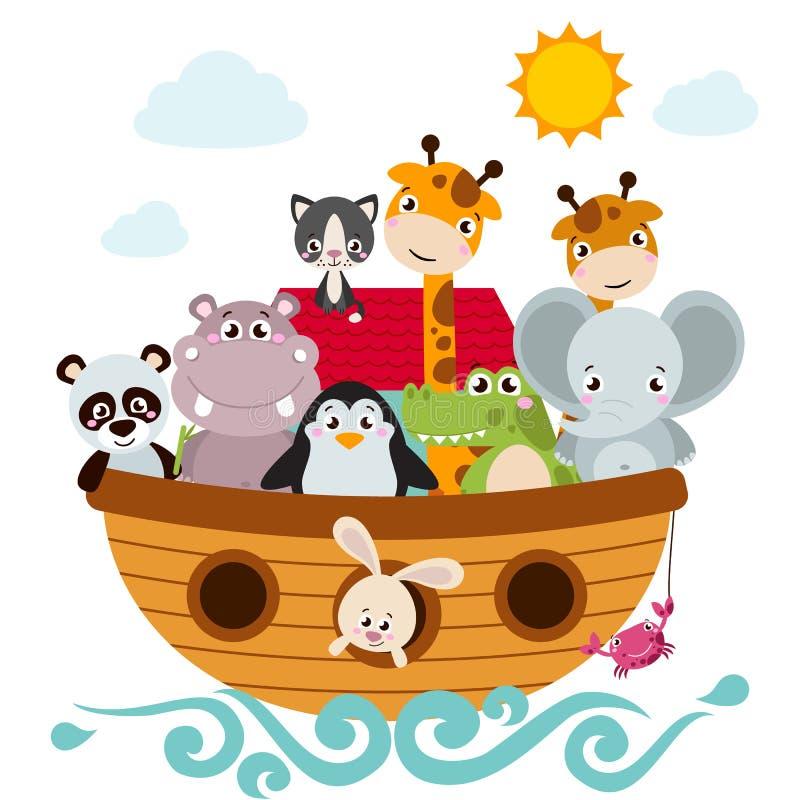 Childish style illustration of Noah`s ark. On the ocean waves and full of animals aboard panda, penguin, elephant, giraffe, cat, rabbit, hippo, crocodile royalty free illustration