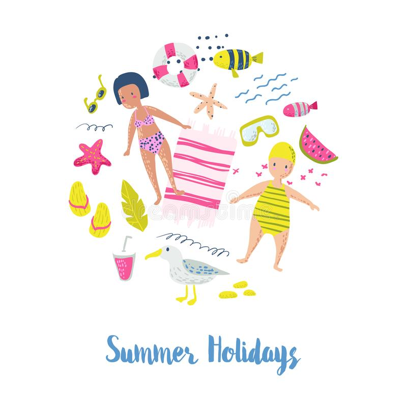Childish Summer Beach Vacation Card with Kids, Fish and Birds. Cute Background with Sea Creatures for Decor, Greetings royalty free illustration