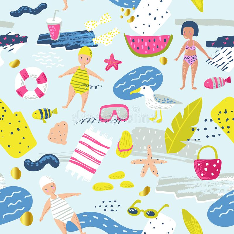 Childish Summer Beach Vacation Seamless Pattern with Kids, Fish and Bird. Cute Background for Fabric, Decor, Wallpaper royalty free illustration