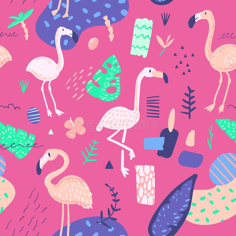 Childish Summer Seamless Pattern with Flamingo and Tropical Plants. Exotic Background for Fabric Textile, Wallpaper stock illustration