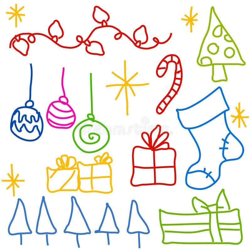 Download Childlike Christmas Doodle Drawings Stock Illustration - Illustration of sketch, childlike: 3667504