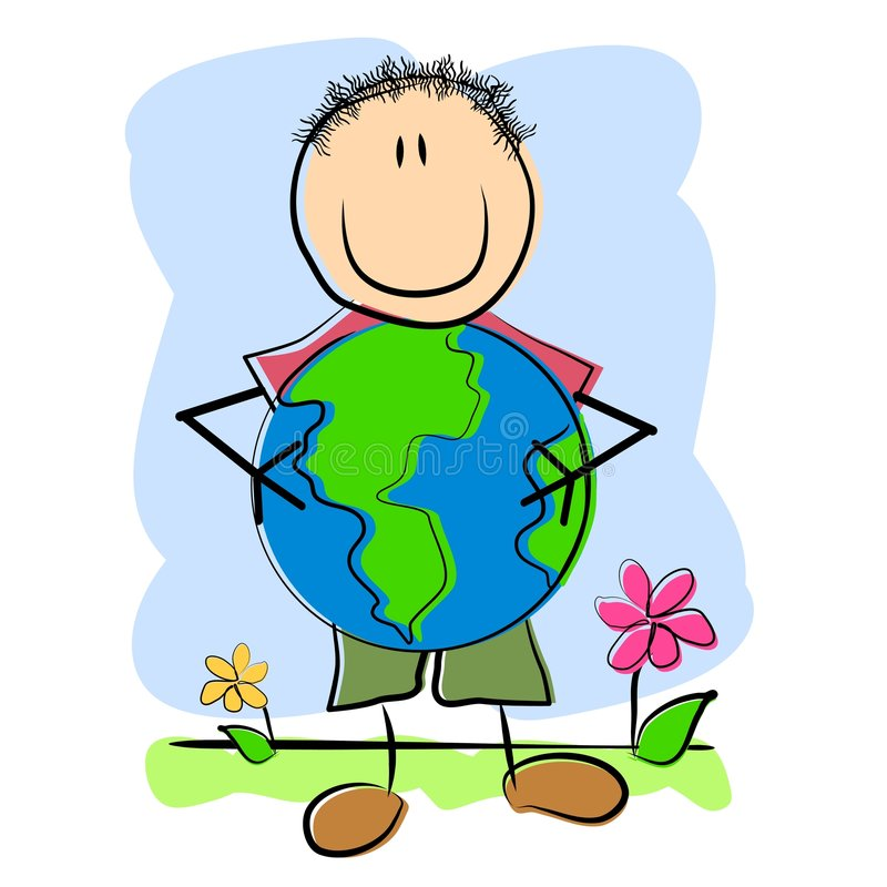 Download Childlike Drawing Child And Earth Stock Illustration - Illustration: 4609252