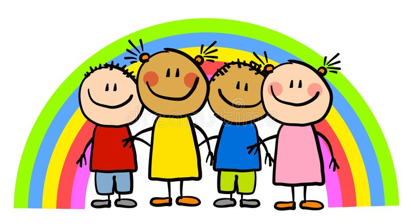 Childlike Drawing Rainbow Kids vector illustration