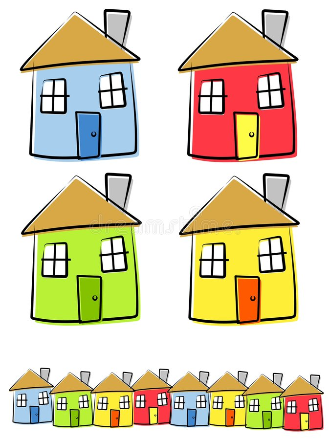 Download Childlike Drawings Of Houses Stock Vector - Image: 4148996