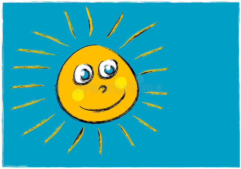 Download Childlike Illustration Of A Smiling Sun Face Stock Illustration - Image: 1945834