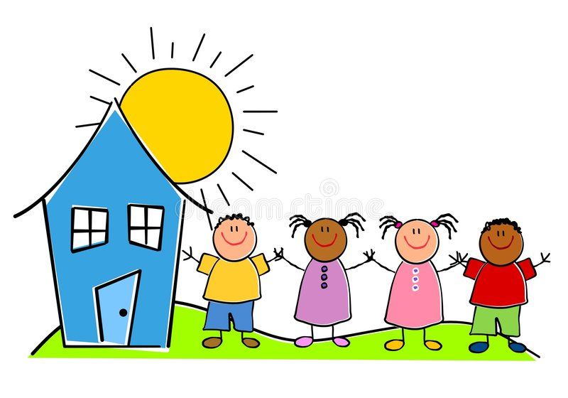 Childlike Kids With a House vector illustration