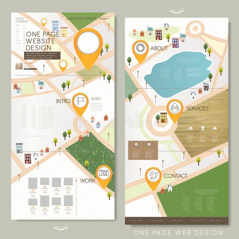 Map Design Website Template: Childlike One Page Website Template Design Stock Vector