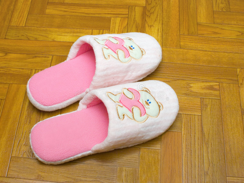 Download Childlike Slippers On Parquet Stock Image - Image of accessory, floor: 1820527