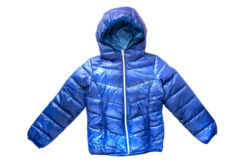 Children's winter jacket. Stylish children's blue warm down royalty free stock image