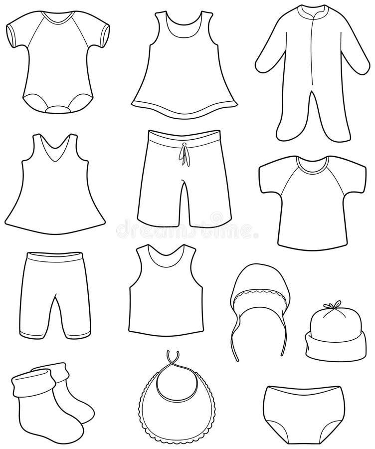 Childrenâs y ropa de los bebés libre illustration