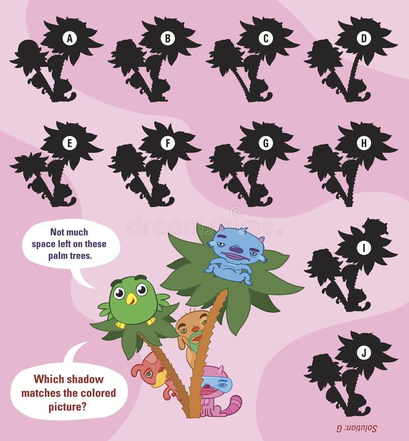 Children łamigłówka z zwierzętami dopasowywać cień ilustracji