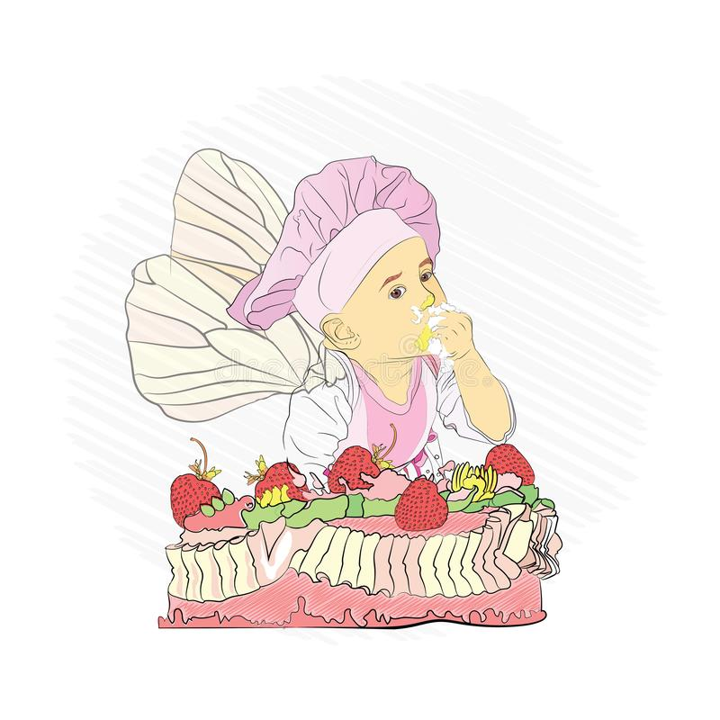 Children& x27 επιλογές του s γλυκό κέικ και διανυσματική απεικόνιση